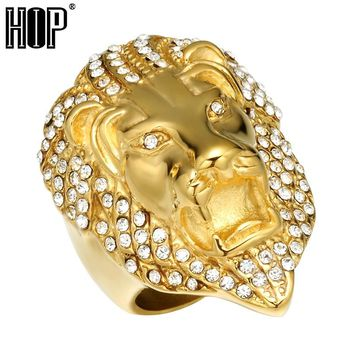 HIP Hop Micro Pave Rhinestone Iced Out Bling Lion Head Mens Ring IP Gold Filled Titanium Stainless Steel Rings for Men Jewelry