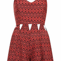 Aztec Print Cut-Out Playsuit - Burgundy