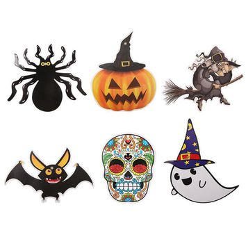 6pcs/set DIY Halloween Banners Witch Pumpkin Spider Garland Pennants Bunting Party Hanging Paper Decorating Flags Bar KTV Suppli
