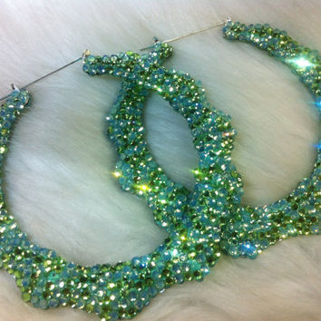 "Bling Bamboo hoop earrings Green 4""  handmade w/ Swarovski element"
