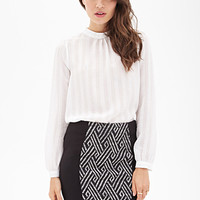 LOVE 21 Labyrinth-Woven Colorblocked Skirt Black/Ivory