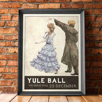 Yule Ball Poster - 1930s Retro Style - Inspired by Harry Potter (Limited Edition Blue Dress)