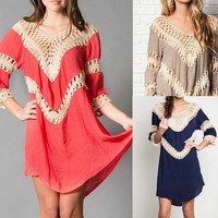 Eliza Bella Bohemian Hippie Fit Crochet Tunic Dress / Blouse XL & Plus Size