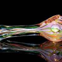 Heady Pink Glass Smoking Pipe - Gold & Silver Fumed Long Spoon Bowl - Ultra Thick USA Borosilicate