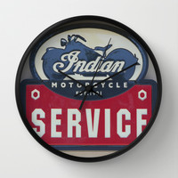 Indian Motorcycle Service Wall Clock by Veronica Ventress