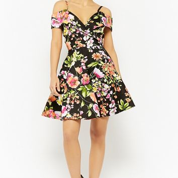 Floral Open-Shoulder Fit & Flare Dress