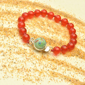 Colorful Red Jade with Vintage Japanese Mint Millefiori Clasp Bracelet