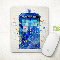 TARDIS Watercolor Art, Doctor Who Mouse Pad, Mousepad, Mat, Home Decor, Gift, Art Print, Desk Supplies, Doctor Who Accessories