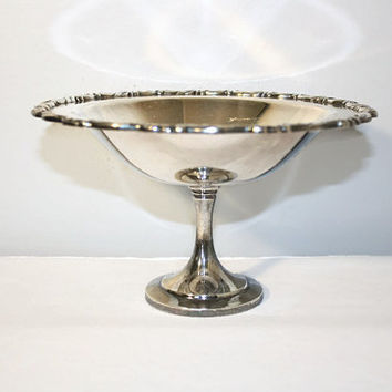 Footed Silverplated Candy Dish, Oneida Silversmiths Compote Bowl