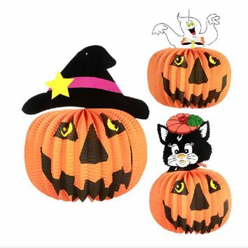1pcs 3D Halloween Folding Paper Lantern Jack Cat Pumpkin Hanging Lantern Halloween DIY Party Garden Decoration