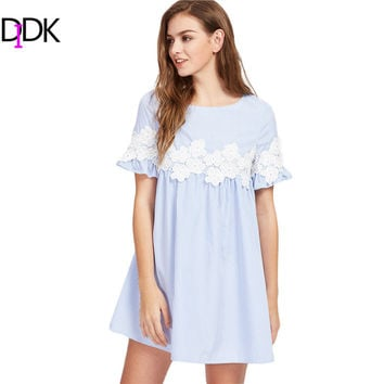 DIDK Women Floral Lace Applique Frill Sleeve Striped Babydoll Dress Summer Blue Short Sleeve A Line Casual Dress