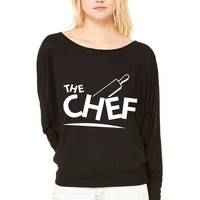 chef cook WOMEN'S FLOWY LONG SLEEVE OFF SHOULDER TEE