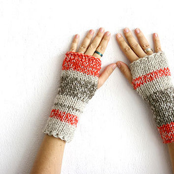 Fingerless gloves hand knit with variegated yarn, Knit fingerless glove, Bulky arm warmers, Knit fingerless mittens, Warm knit gloves