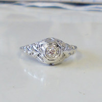 Vintage Antique 18k White Gold And .15ct Diamond Engagement Ring 1920's Art Deco