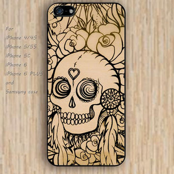 iPhone 6 case skull case flowers skull iphone case,ipod case,samsung galaxy case available plastic rubber case waterproof B211