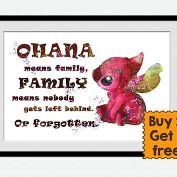 Stitch watercolor print Ohana quote art poster Lilo and Stitch print Disney wall decor Home decoration Child room wall art Nursery decor W25