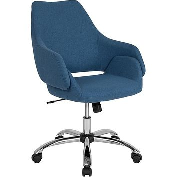 Madrid Home and Office Upholstered Mid-Back Chair in Blue Fabric [CH-177280-BLU-F-GG]