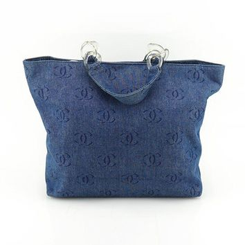 CHANEL AUTH Vintage Denim Blue CC Logo Quilted Cabas Shoulder Tote Bag Handbag