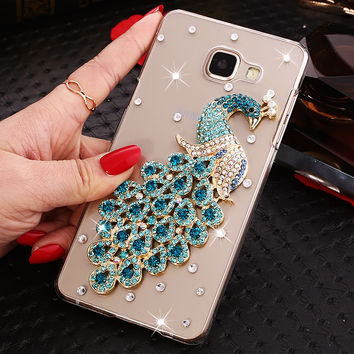 2017 Peacock Pattern Phone Cases Cover For Samsung Galaxy S5 S6 S7 Egde,Ladies Rhinestone Pearl Case For Samsung Galaxy S5 S6 S7