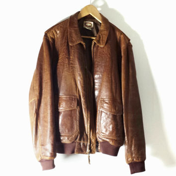 Vintage BANANA REPUBLIC  Leather Bomber Jacket -Soft Leather - Brown - Size 42