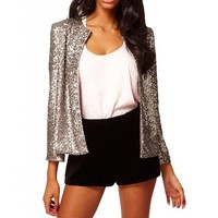 Women's Sexy Sequins Long sleeve Coat O-Neck Jacket Blazers X-Large Silver