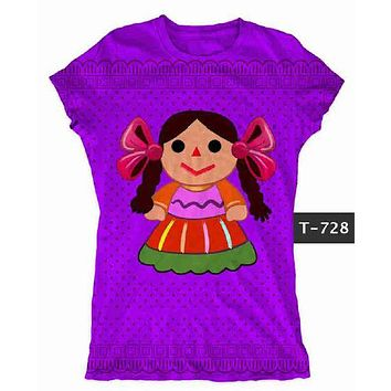 Mexican Doll Graphic Tee t-shirt Purple