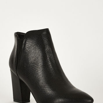 Crocodile Stretch Side High Block Boots