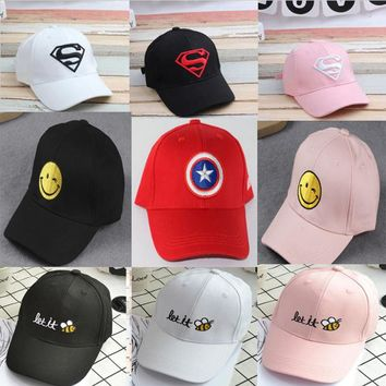 2017 Summer Children Hip Hop Baseball Cap Superman batman kids Sun Hat 18 colors Boys Girls snapback Caps 2-8 years old