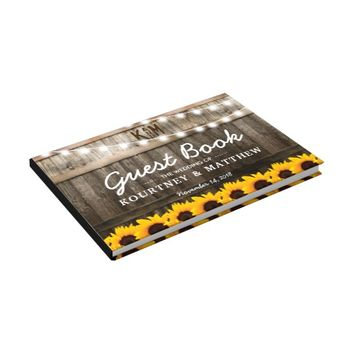 Rustic Country Wedding | Sunflower String Lights Guest Book