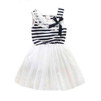 summer 2017 New baby girl ball gown dress lace+cotton material Bowknot Striped Bubblet Tutu Dress 0-2Y