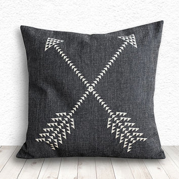 Geometric Pillow Cover, Pillow Cover, Tribal Pillow Cover, Linen Pillow Cover 18x18 - Printed Arrow - 118