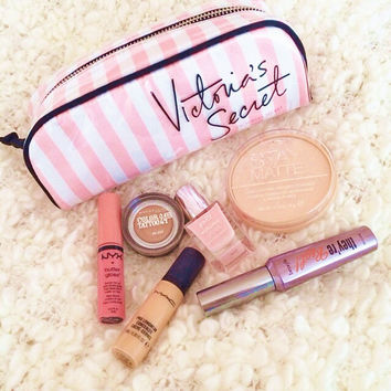 Victoria's Secret fashion pink stripe makeup bag
