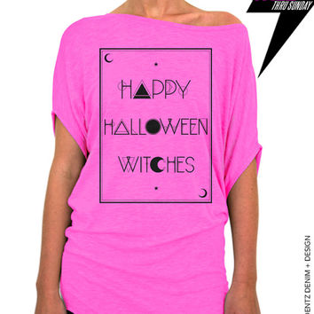 Halloween Shirt - Tarot - Happy Halloween Witches - Pink Longer Length Slouchy Tee (Small - Plus Sizes)