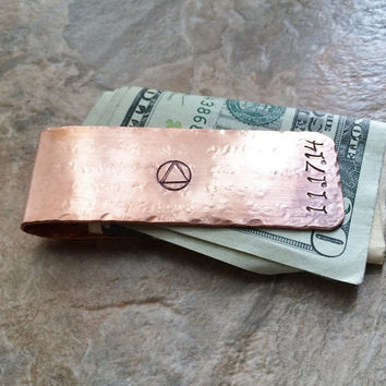 Sobriety Milestone Money Clip, Recovery Gift, Personalized Money Clip, AA NA Milestone, Sober Anniversary, Sobriety Date, Sobriety Gift