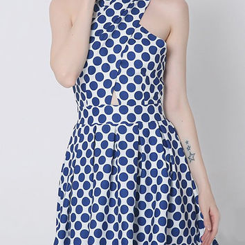 Crossover Polka Dot Cut Out Dress