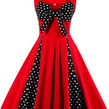 Atomic Red and Black Dotted Pleats Dress