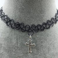 Tattoo Choker Necklace with Cross Pendant + Gift Box-31
