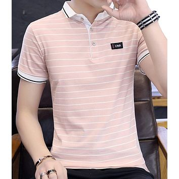Mens Striped Polo Shirt with Logo
