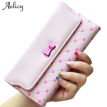 Aelicy Luxury Bow Love Hasp Clutch Wallets for Women Solid PU Leather Female Long Purse Phone Coin Pocket ID Holder Lady Purses