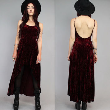 Vtg 90s Maroon Crushed Velvet Vamp Backless Grunge Fishtail Maxi Mini Dress S-M