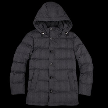 UNIONMADE - Mackintosh - Printed Glen Plaid Down Jacket with Hood in Grey