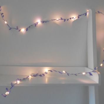 Purple / Lilac Leaf Fairy Lights / String Lights / Garland Battery Indoor Bedroom Wedding Decoration Nursery