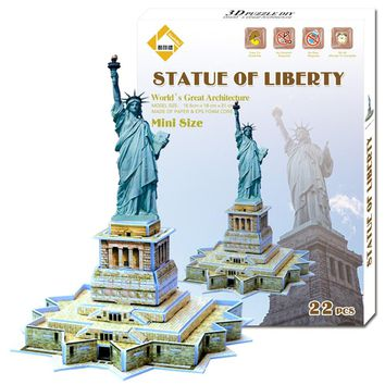Fashion Educational 3D Model Puzzle Jigsaw Mini Statue of Liberty DIY Toy