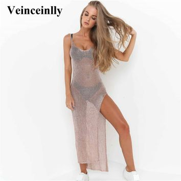 Sexy Mesh Sheer See Through Knit Long Beach Dress Beach Cover-up Cover ups Beachwear Beach Wear Women Swimwear Tunic Female Y651