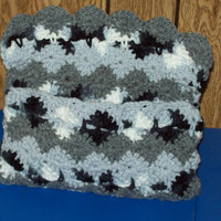 Crocheted Storage Bag Or Purse Grey Black and by amydscrochet