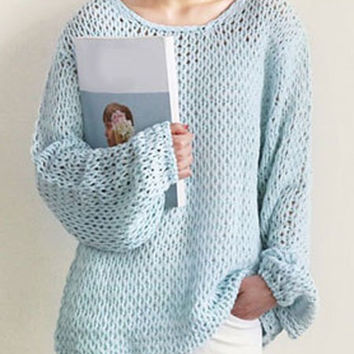 Light Blue Cut Out Long Sleeve Sweater
