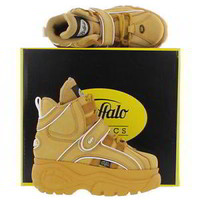 Buffalo 1348-14 Womens Wheat White Leather Platform Trainer Boots Shoes Size 4-8