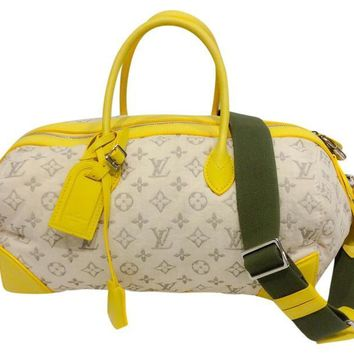 Limited Edition Jaune Monogram Denim Speedy Round Cross Body Bag by Louis Vuitton
