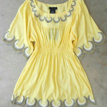 Embroidered Jaune Boheme Tunic [2783] - $24.30 : Vintage Inspired Clothing & Affordable Summer Dresses, deloom | Modern. Vintage. Crafted.