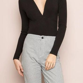 Black Plain Plunging Neckline Long Sleeve Pullover Sweater